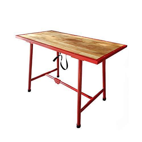 Banco da lavoro tavolo pieghevole in legno e acciaio per officina e il fai da te - misure 120 cm (L) x 62,5 cm (P) x 83 cm (H)