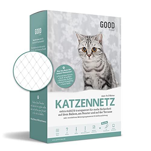 Good-to-have Katzennetz für Balkon ohne Bohren - 8x3m zuschneidbar & bissfest - transparentes Balkonnetz für Katzen inkl. Montage-Set & eBook