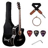 JUAREZ Arpeggio 39 Inch Semi-Acoustic Guitar Kit, Spruce Top, Rosewood Fretboard & Bridge, Truss Rod, 4 Band EQ, Chrome Die Cast Machine Tuners, Black