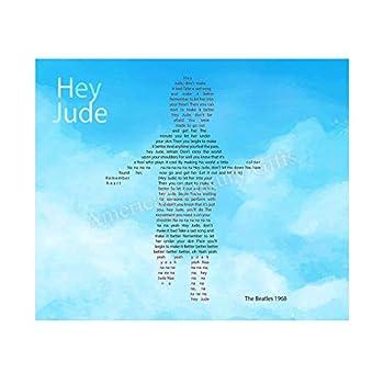"Beatles Song Lyrics Wall Art-""Hey Jude""- 8 x 10 Art Print Ready to Frame Modern Home-Office-Studio-School Decor Perfect Gift for Musicians Beatles Fans & Inspiration Paul McCartney Ballad for Son."