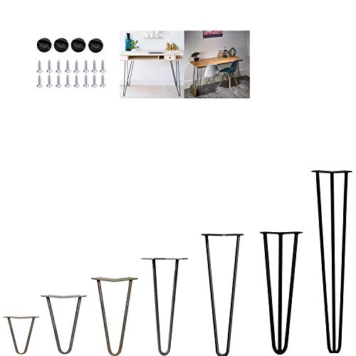 4Pcs Hairpin Table Legs Heavy Duty DIY Furniture Metal Table Legs with Free Screws & Protector Feet - Stable Standard Table Height, 10cm to 72cm, 3Rods, Black (41cm)