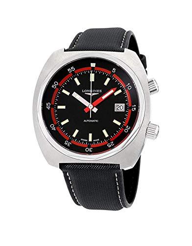Longines - Reloj automático para hombre en acero inoxidable con correa de cuero puro - Heritage Diver L27954520