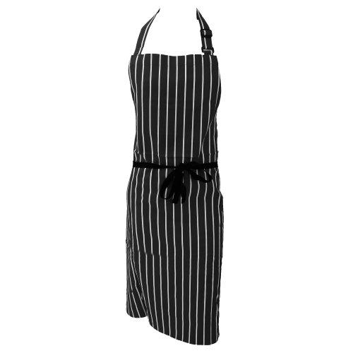 Dennys Unisex Baumwoll Küchenschürze mit Streifen (Einheitsgröße) (Schwarz/Weiß)
