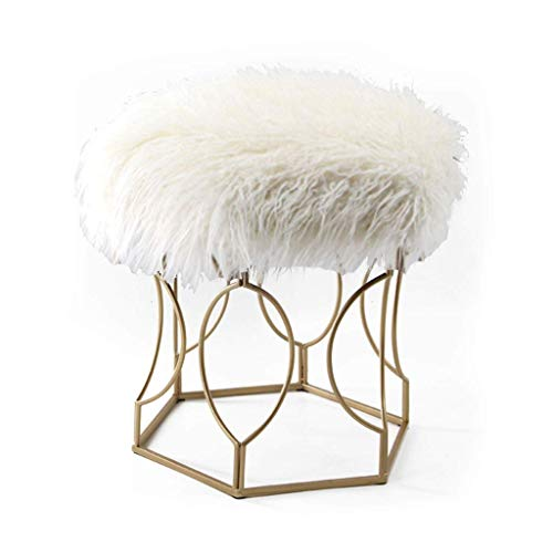 AAJOLG Tabouret Famille/Extérieur Home Long Fluff Vanity Stool Beauty Stool Makeup Dressing Chair Comfortable Shoe Stool (weiß),A