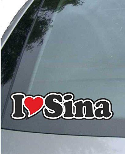 INDIGOS UG - Aufkleber/Autoaufkleber I Love Heart - Ich Liebe mit Herz 15 cm - I Love Sina - Auto LKW Truck - Sticker mit Namen vom Mann Frau Kind