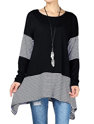 Mordenmiss Women's Stripes Asymmetry Tunic Swing Flowy Plain T-Shirt Top XL Black