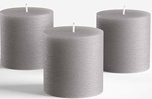 "Set of 3 Grey Pillar Candles 3"" x 3"" Gray Unscented Rustic for Weddings Home Decoration Relaxation Spa Church Smokeless and Dripless by Melt Candle Company"
