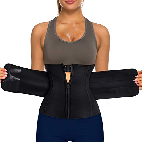 Bingrong Cintura Faja Deportiva Entrenador de Cintura Cremallera Neopreno Mujer Reductora Adelgazante Mujer de Firness Faja de Sauna para Adelgazar Cinturón de Sudoración