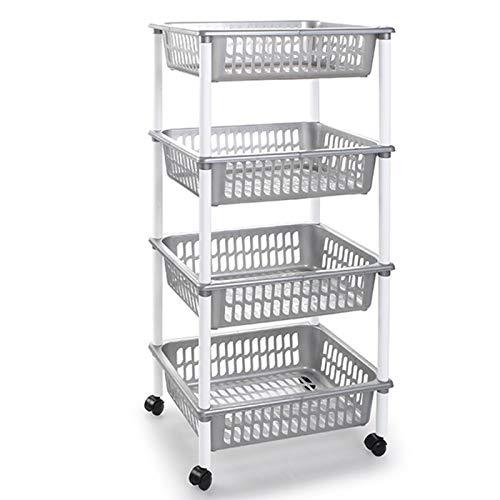 Acan Carro verdulero portaobjetos Multiuso para organizar el Espacio doméstico, Disponible 3 o 4 cestas. Elegir Color y Altura. Ideal para baño, Cocina, Sala y Garaje. (Plata-4 cestas)
