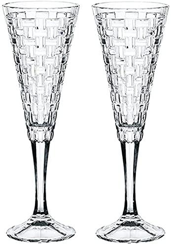 JWCN Classy Wine Cycle - Gafas de champán de Cristal soplado a Mano - Conjunto de 2 Flautas Elegantes Cristal Premium Libre de Plomo - Regalo para la Boda Uptodate