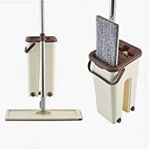RETAIL PARATPAR Flat mop with Bucket System 360° Flexible Standard Head Mop with Super-Absorbent Microfiber Pads | Multico...