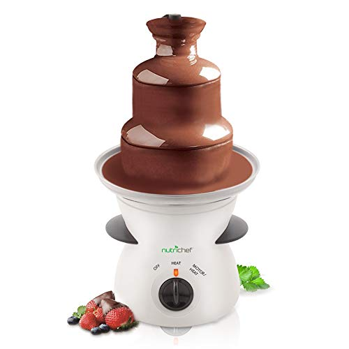 NutriChef 3 Tier Chocolate Fondue Fountain - Electric Stainless Choco Melts Dipping Warmer Machine - Melting, Warming, Keep Warm - for Melted Chocolate, Candy, Butter, Cheese, Caramel, White, One Size