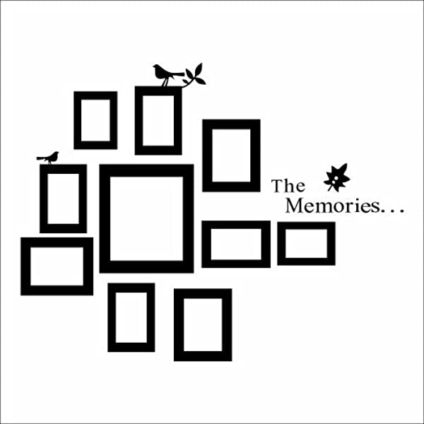 The Memories Quotes Wall Decal With 10 Photo Frames Wall Sticker DIY Removable Vinyl Family Lettering Sayings Wall Decor Black