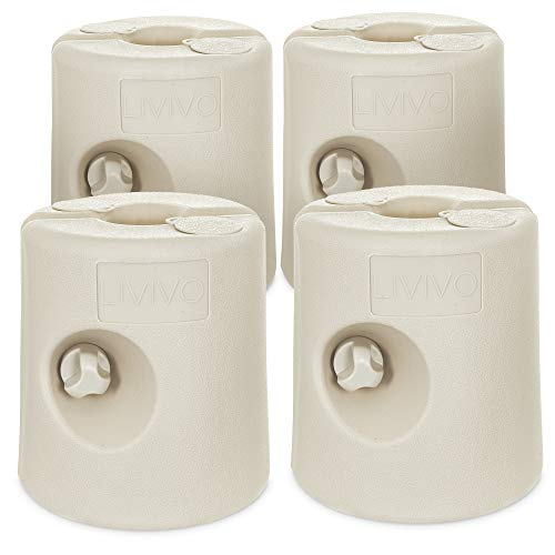 LIVIVO Set of Four Secure Leg Weights for Gazebos, Marquees, Market Stalls and Party Tents - Weather Resistant for 25mm Diameter Poles - Fill with Water or Sand (White)