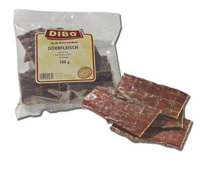 Dörrfleisch, 100g-Beutel, der kleine Naturkau-Snack oder Leckerli für Zwischendurch, Hundefutter, Qualitätskauartikel ohne Chemie von DIBO