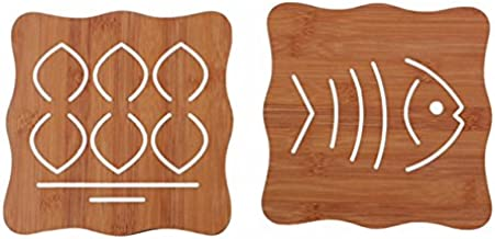 Dewberries® Wooden Heat Insulation Trivet Set for Home, Kitchen and Dining - Set of 2