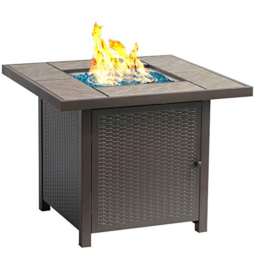 Find Discount BALI OUTDOORS 32-Inch Outdoor Propane Gas Fire Pit Table, 50,000BTU FirePit, Brown