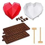 Juegos de moldes de silicona Molde en forma de diamante 3D Amor corazon Molde de letras números Molde para hornear Bandeja de herramientas para hornear hecha a mano con un pequeño martillo de madera
