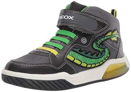 Geox Jungen J INEK Boy E Hohe Sneaker, Schwarz (Black/Green C0016), 25 EU