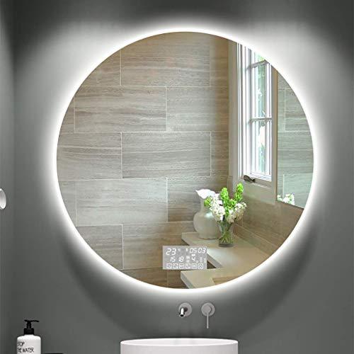 QTWW Espejo de baño Redondo con LED Superficie a Prueba de explosiones para HD con Interruptor táctil de luz Blanca/cálida + Pantalla de Tiempo/Temperatura + Pantalla