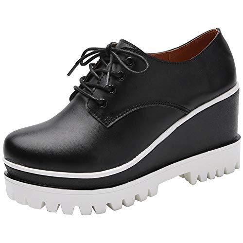 XHCHE Damen Casual Schuhe Frühling und Herbst Schnürung tiefen Mund einzelne Schuhe wasserdichte Plattform erhöhen dicken Boden Keil Ferse lässig Wilde Schuhe