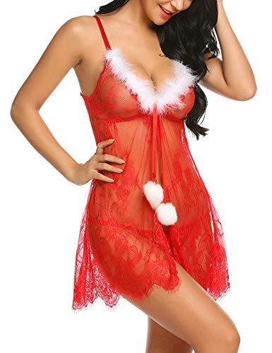 ADOME Damen Weihnachten Dessous Sexy Reizwäsche Spitzen Reizvolle Babydoll Negligee Split Ouvert Erotik Christmas Kostüm Nikolaus Nachtkleid Trägerkleid Lingerie mit G-String für Frauen Rot M