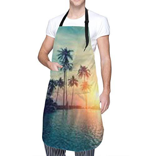 Delantal con peto para hombre y mujer con bolsillo y corbatas ajustables, delantal de cocina con palmeras al atardecer, delantal de cocina para cocinar, hornear, hacer manualidades, jardinera