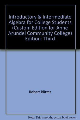 Introductory & Intermediate Algebra For College Students, third Edition, with CD