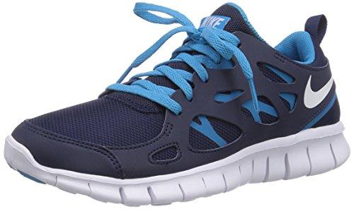 Nike Herren Free Run 2 (GS) Laufschuhe, Blau (Midnight Navy/White/Blue Lagoon), 37.5 EU