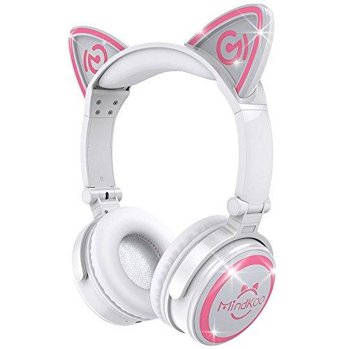 MindKoo Casque Audio Stéréo Bluetooth 4.2 Oreilles de Chat Headphone Wireless Origine Cat Ear Ecouteur Supra-Auriculaire sans Fil...