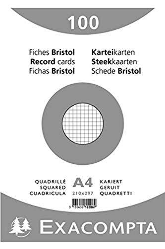 Exacompta 10206E Karteikarten (Packung mit 100, 250g, in Folie eingeschweißt, DIN A4, 21 x 29,7 cm, kariert, ideal für die Schule) 1er Pack weiß