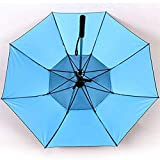 ausuky Mens Womens Long Walking Length Umbrella Rain/Sun Anti-UV Spray Fan Cooling Umbrella (Blue)
