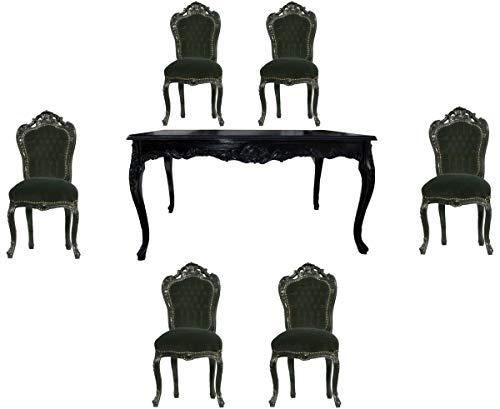 Casa Padrino Juego de Comedor Barroco Negro/Negro - Mesa de Comedor + 6 sillas sin reposabrazos