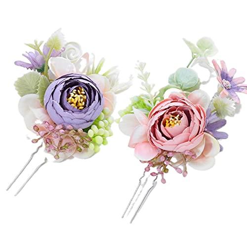 Campsis 2PCS Wedding Flower Hair Pins Purple Artificial Hair Piece Handmade Bride Headpiece Engagement Prom Beach Party for Women and Girls