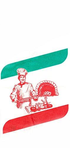 Pizzabrötchen-Tüten/Pizza Faltenbeutel (26 x 12 cm - weiß mit Aufdruck / 1000 Stück)