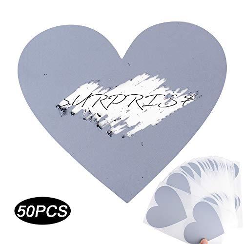 50 Silber Rubbel Etiketten Herz Rubbelkarten Rubbelsticker Hochzeit Überraschung Rubbel Folie Rubbelaufkleber Rubbellos Scratch Off Label Card 7x8cm