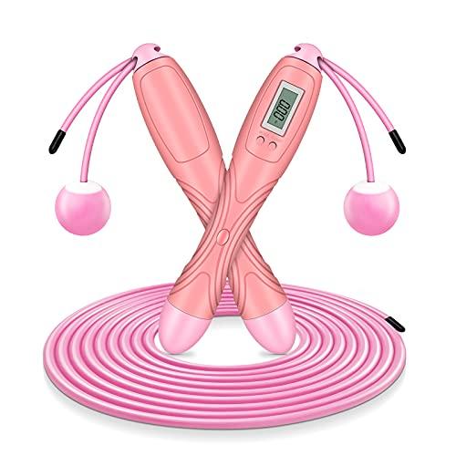 Springseil mit digital Zähler, Speed Rope, Stahl Seil mit PVC Ummantelung, Profi Kugellager & Anti-Rutsch Griffe, Anzahl der Sprünge und Kalorienverbrauch, ideal für Crossfit, Profi Sport (Rosa)