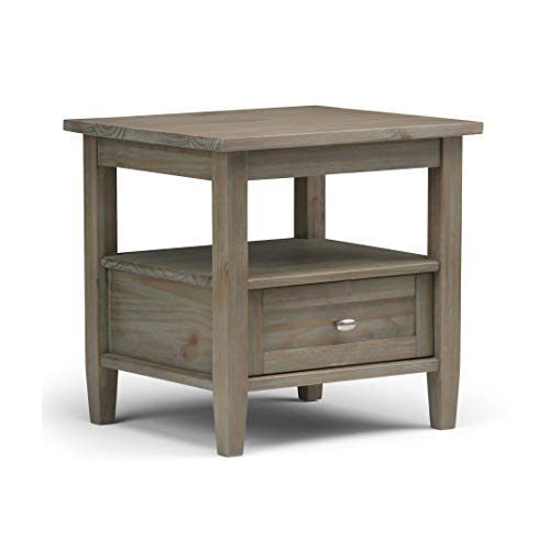 SIMPLIHOME Warm Shaker SOLID WOOD 20 inch wide Rectangle Rustic Contemporary End Side Table in Distressed Grey with Storage, 1 Drawer and 1 Shelf, for the Living Room and Bedroom