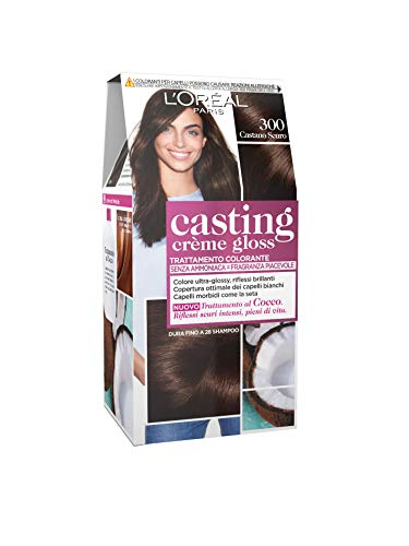 L'Oréal Paris Casting Creme Gloss, tratamiento colorante para el cabello, sin amoniaco para una fragancia agradable. Castano Scuro 300