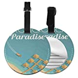 Round Travel Luggage Tags,Hawaiian Bungalows with Palm Trees In Paradise Beach Birds Eye View,Leather Baggage Tag