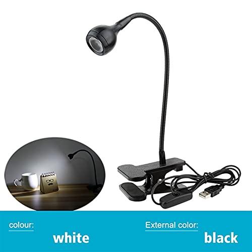 Protección Ojos Led Lámpara De Mesa Flexible con Abrazadera Libro De Lectura Lámpara De Escritorio USB Clip El Dormitorio Noche De Iluminación (Body Color : Black White)