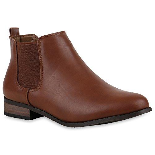 Klassische Damen Stiefeletten Chelsea Boots Leder-Optik Gr. 36-42 Schuhe 123375 Hellbraun Avion 36 Flandell