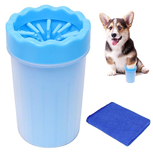 LZYMSZ Haustier-Fußwaschmaschine, tragbare Hundepfoten-Reinigungsbürste, aus weichem Silikon, mit Handtuch für schmutzige und schlammige Pfoten, Katzen- und Hundebad und Fellpflege