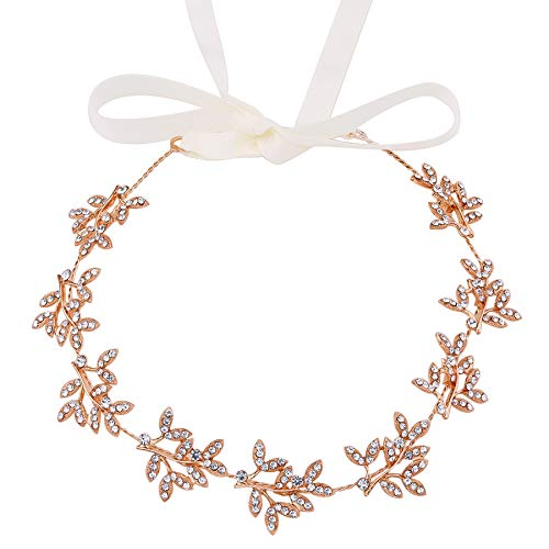 ArtiDeco - Diadema para novia, plateada, cristal, parpadeante, joya para el pelo, hecha a mano, vintage, para novia, boda, accesorios para fiesta Estilo 1 – Oro rosa. Talla única