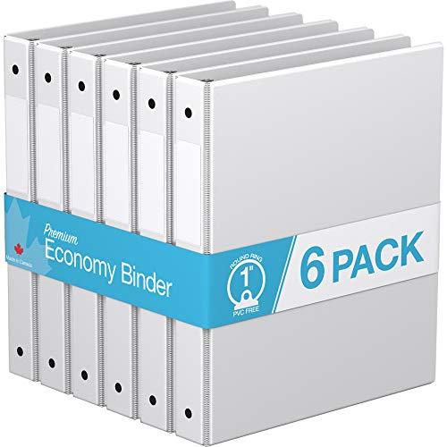 """Premium Economy, Round Ring, Binder, 6 Pack (1"""", White)"""