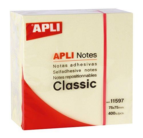 APLI 11597 - Foglietti adesivi CLASSIC 75x75 mm cubo da 400 fogli colore giallo