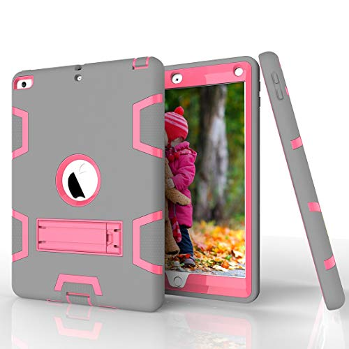 Tablet PC Shell Shockproof Heavy-Duty Rubber High-Strength Sturdy and Durable Hybrid Three-Layer Full Body Protective Case for iPad 5/AIR Built-in Shockproof Support Case Cover ( Color : Grey+RosRed )