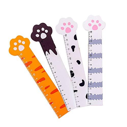 moin moin 定規 猫 ネコ 猫の手 肉球 ものさし ルーラー 15cm 4種セット (茶 靴下/グレー しましま/白に黒ぶち/オレンジ) 2104jg3