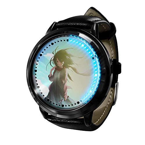 Ataque a Titan Watch Relojes De Pulsera para Hombre Pantalla TáCtil Led Binaria Cuarzo JaponéS Reloj Anime De Pulsera Digital Resistente Al Agua Reloj De Pulsera Unisex-D