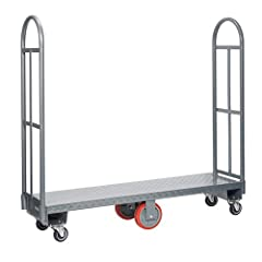 "Narrow 16"" width deck Constructed of all welded steel with anti-skid diamond plate steel deck All models have two high-end, removable handles to secure merchandise in place"